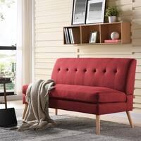 Handy Living Kingston Mid Century Modern Red Linen Armless Loveseat