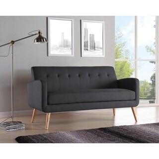Palm Canyon Motif Mid-century Modern Charcoal Linen Armless Sofa