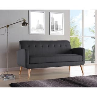 Palm Canyon Motif Mid Century Modern Charcoal Linen Armless Sofa