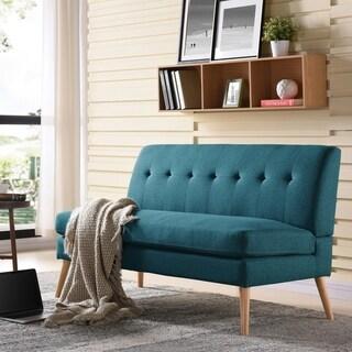 Handy Living Kingston Mid Century Modern Blue Linen Armless Loveseat