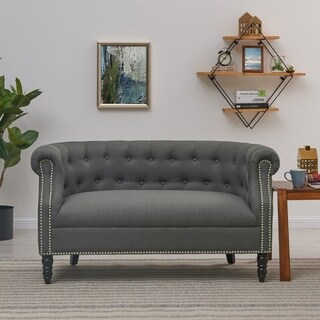 Handy Living Chesterfield Charcoal Grey Linen Loveseat
