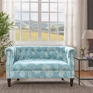 Handy Living Chesterfield Blue Floral Loveseat