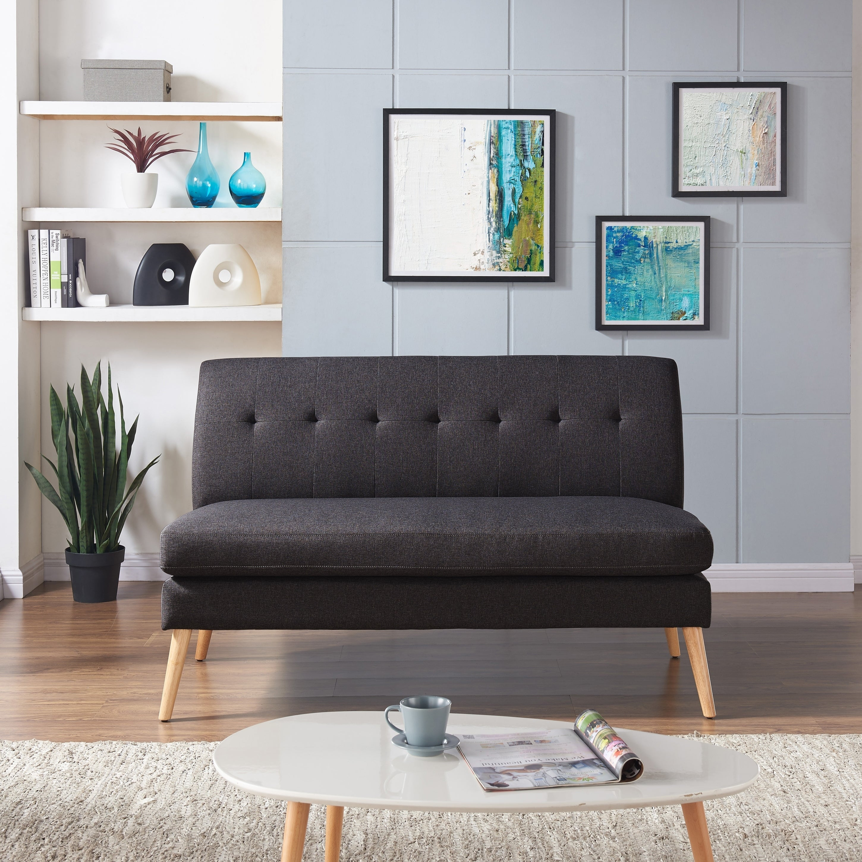 Details about handy living kingston mid century modern charcoal linen armless loveseat