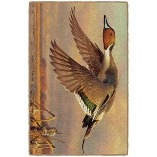 Brumlow Mills Evening Flight, Duck Wildlife Rug, by Adam Grimm BROWN - 3'4 x 5'