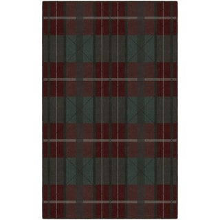 Brumlow Mills Burgundy and Green Traditional Plaid, Area Rug BURGUNDY - 3'4 x 5'