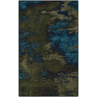 """Brumlow Mills Rainier in Green and Blue, Contemporary Abstract Area Rug GREEN - 2'6"""" x 3'10"""""""