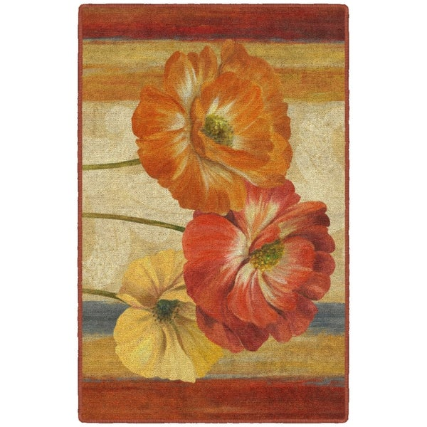 "Brumlow Mills Poppy Tapestry Stripes, Kitchen and Entryway Floral Rug, by Pamela Gladding NATURAL - 2'6"" x 3'10"""