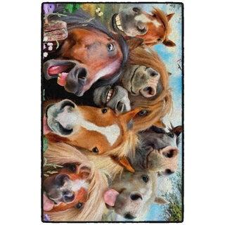 """Brumlow Mills Selfies Horses, Funny Rug, by Howard Robinson 30x46 MULTI - 2'6"""" x 3'10"""""""