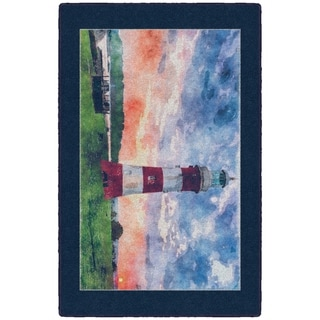 """Brumlow Mills Lighthouse at Sunset, Kitchen and Entryway Nautical Beach Rug BLUE - 2'6"""" x 3'10"""""""