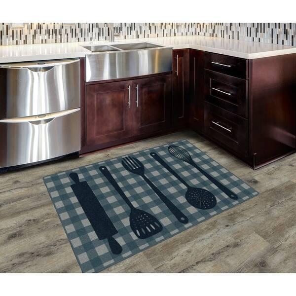 Brumlow Mills Kitchen Utensils In Navy Kitchen Rug Navy 2 6 X 3 10