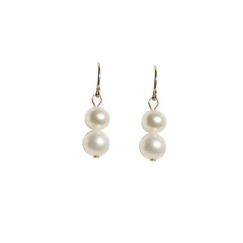 Semi-Round 2-pc Pearl Earrings - Choose White, Peach or Black