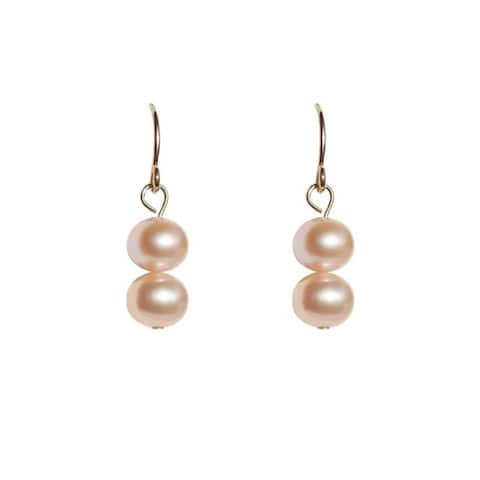 Semi-Round 2-pc Pearl Earrings - Choose White, Peach or Black
