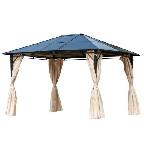 Outsunny Outdoor Hardtop Steel Gazebo With Removable Curtains