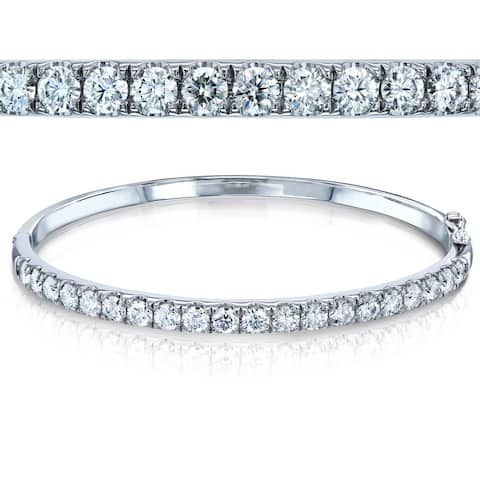 Annello by Kobelli 10k White Gold 3 1/5ct TGW Moissanite Bangle Bracelet Standard Medium 60mmx50mm Hinge Jointed Opening