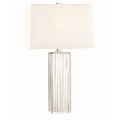 Hudson Valley Hague 1-light Clear Tall Table Lamp with Polished Nickel Accent
