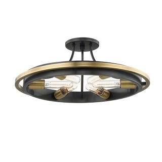 Hudson Valley Chambers 6-light Aged Old Bronze Flush Mount with Aged Brass Accent