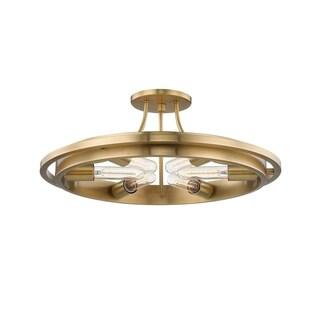Hudson Valley Chambers 6-light Aged Brass Flush Mount