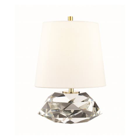 Hudson Valley Henley 1-light Clear Small Table Lamp with Aged Brass Accent