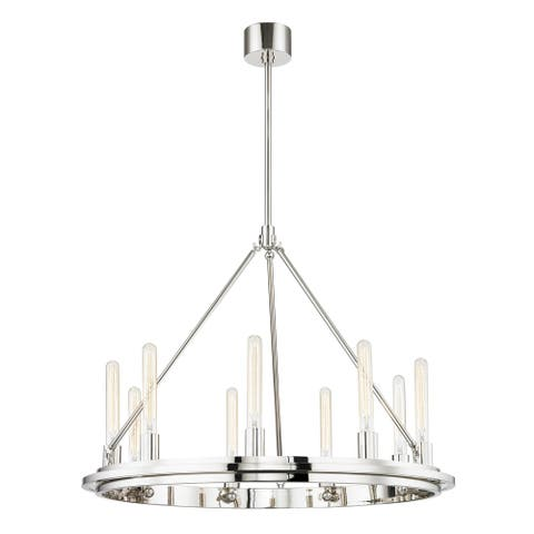 Hudson Valley Chambers 9-light Polished Nickel Pendant