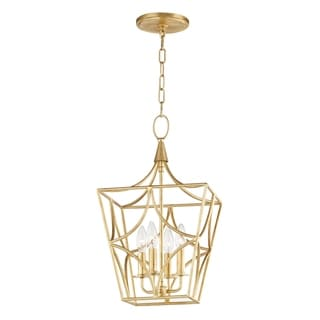 Link to Hudson Valley Green Point 4-light Gold Leaf Small Pendant Similar Items in Pendant Lights