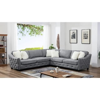 Best Quality Furniture Leona Tufted Fabric 3-Piece Sectional With 6 Faux Fur Pillows