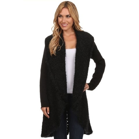High Secret Women's Solid Knitted Circular Open Front Cardigan