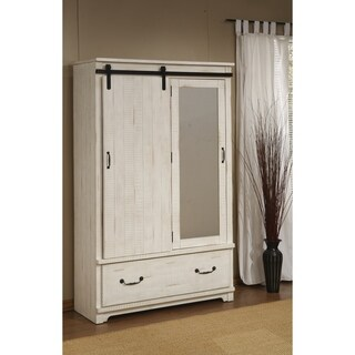 Coastal Farmhouse Solid Wood Armoire with Sliding Barn Door, Antique White