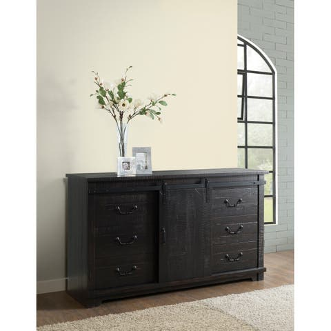Coastal Farmhouse Solid Wood 9 Drawer Dresser with Sliding Barn Door, Antique Black