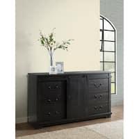 Coastal Farmhouse Solid Wood 9 Drawer Dresser with Sliding Barn Door, Antique Black