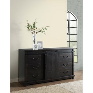 Martin Svensson Home Coastal Farmhouse Antique Black Solid Wood 9-drawer Dresser with Sliding Barn Door