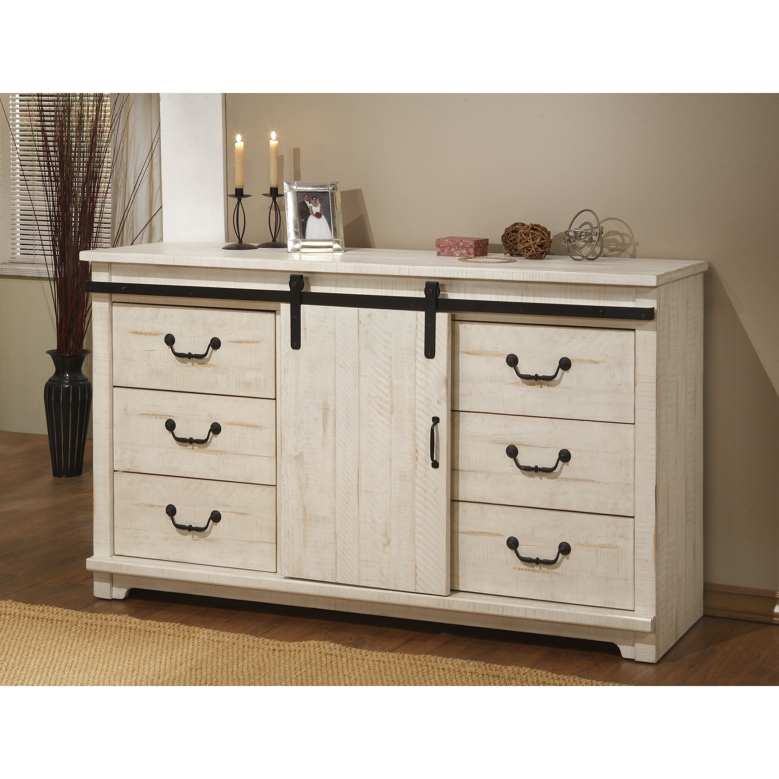 Coastal Farmhouse Solid Wood 9 Drawer Dresser With Sliding Barn Door,  Antique White