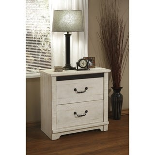 Coastal Farmhouse Solid Wood 2 Drawer Nightstand, Antique White