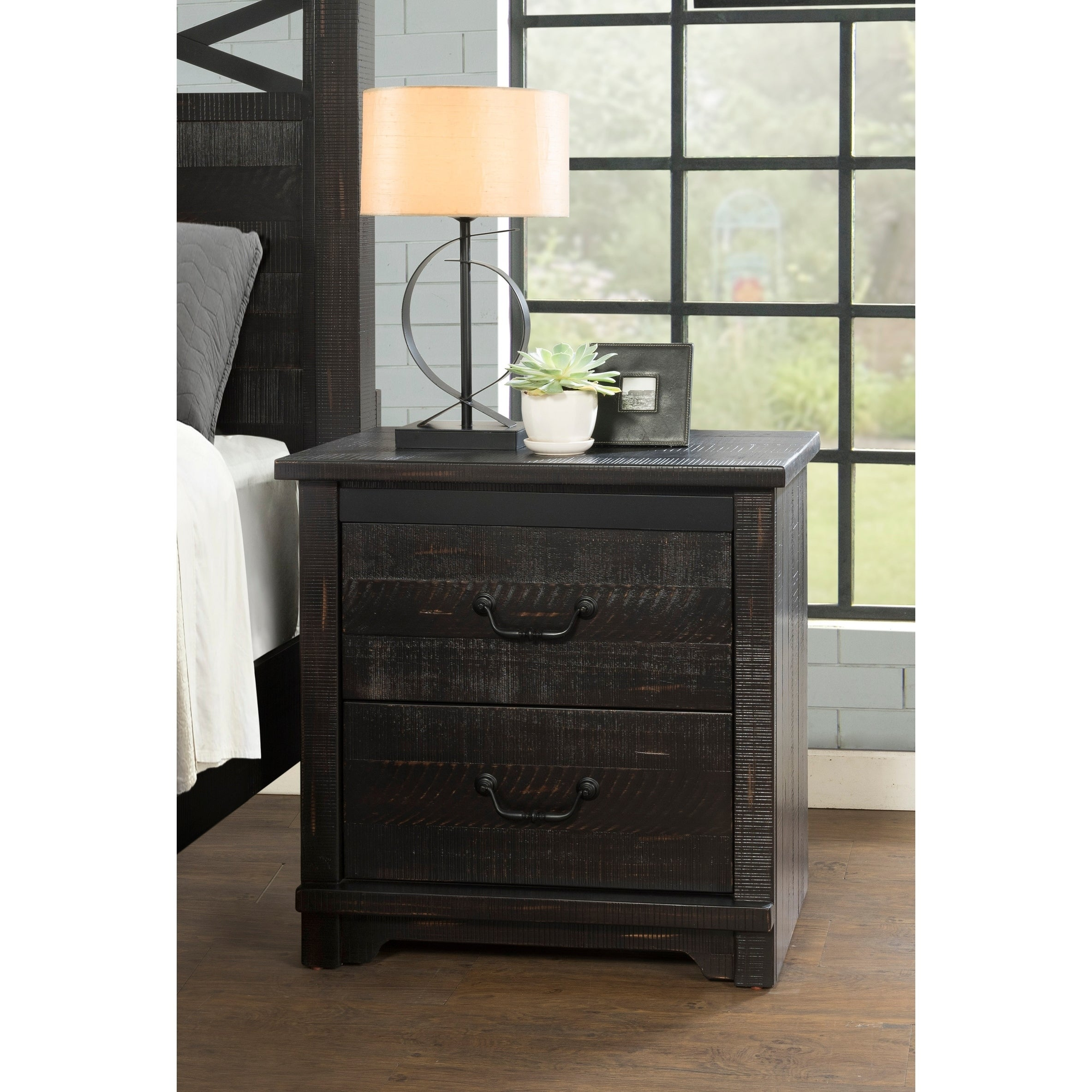 Coastal Farmhouse Solid Wood 2 Drawer Nightstand Antique Black Overstock 22277339
