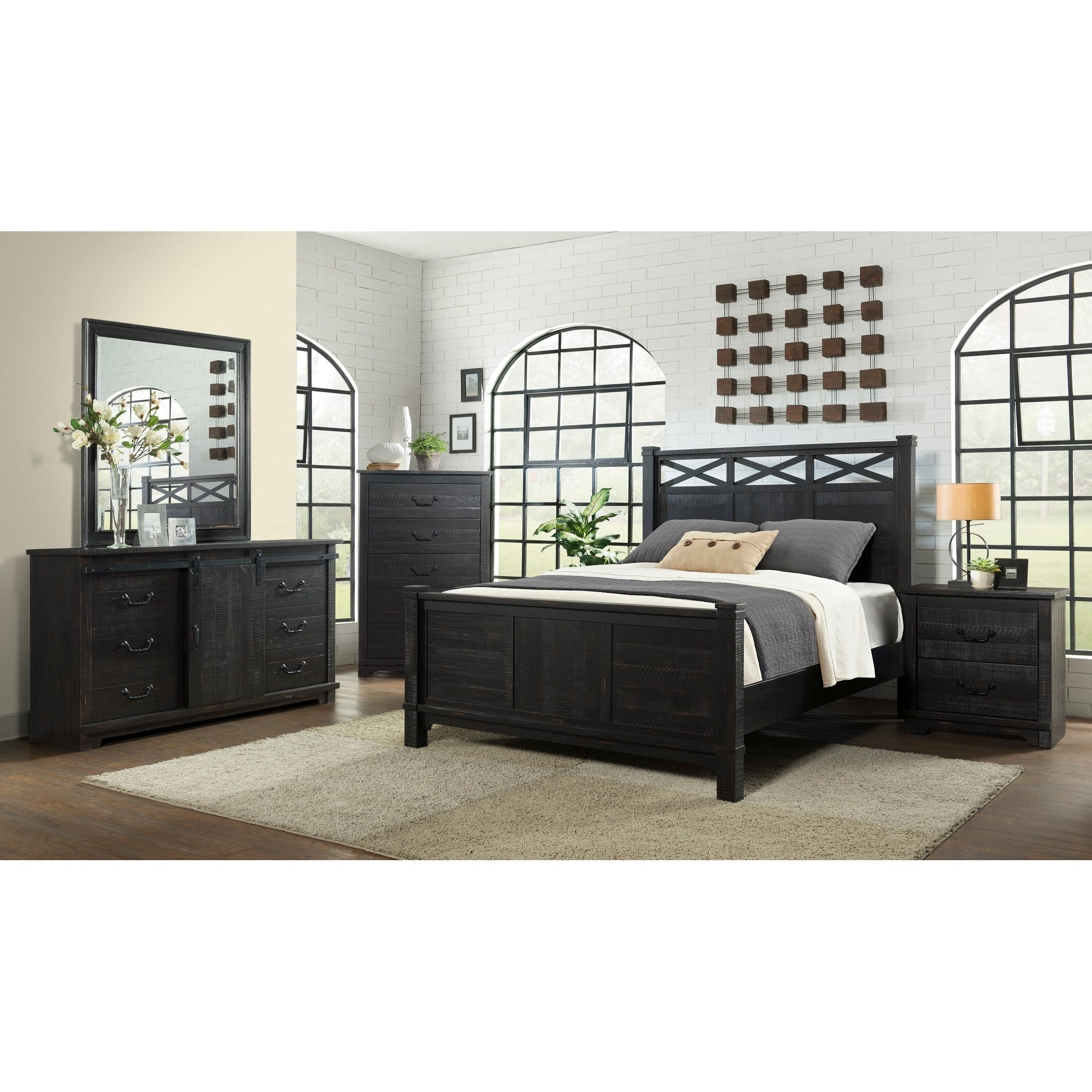 Shop Black Friday Deals On Coastal Farmhouse Solid Wood Armoire With Sliding Barn Door Antique Black Overstock 22277341
