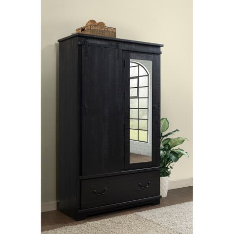 Coastal Farmhouse Solid Wood Armoire with Sliding Barn Door, Antique Black