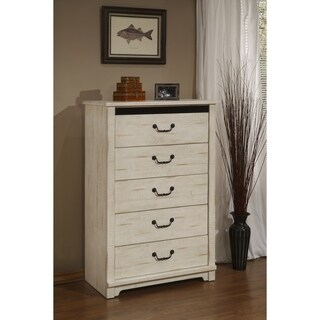 Coastal Farmhouse Solid Wood 5 Drawer Chest, Antique White