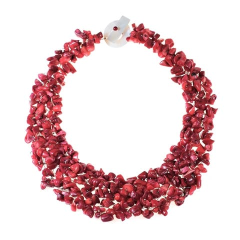 Handmade Synthetic Coral Bead Cluster Red Toggle Necklace (Thailand)