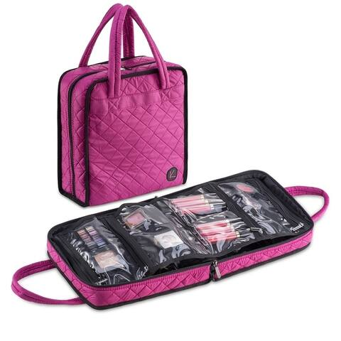 KIOTA Quilted Professional Makeup Cosmetic Beauty Case with Removable Clear Storage organizer bag
