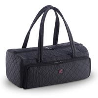 KIOTA Quilted Duffle Cosmetic Beauty Makeup Case w/ Brush Organizer Compartment and removable Clear PVC travel makeup ba