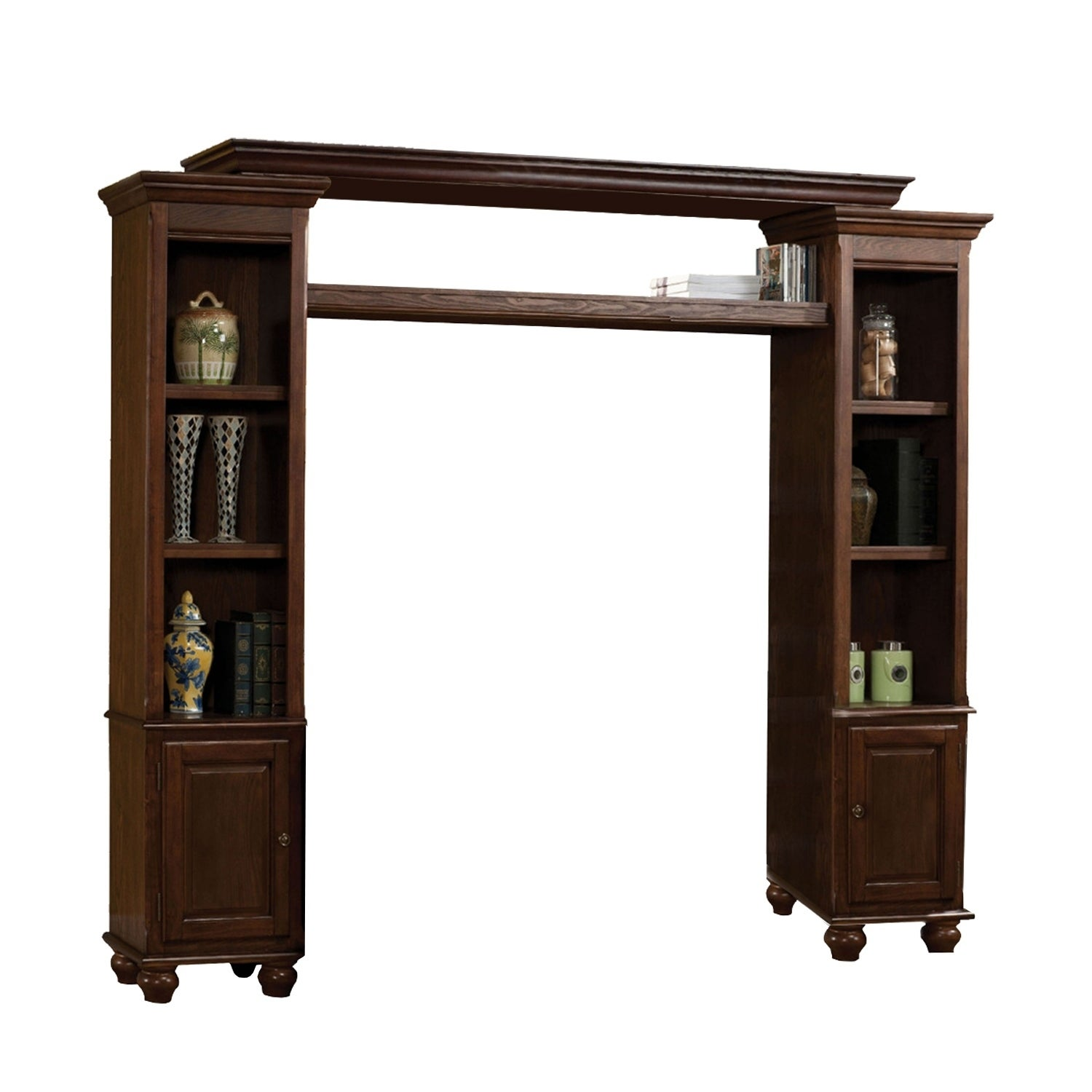 Shop Poplar Wood Entertainment Center With Side Door Cabinets