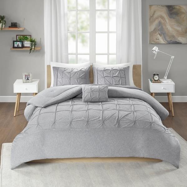 Intelligent Design Dana Grey Jersey Tufted Comforter Set