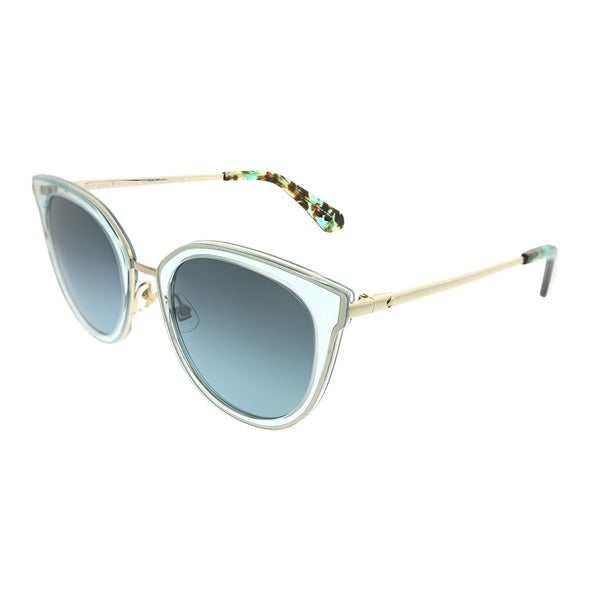 df280798e4574 Kate Spade Cat-Eye KS Jazzlyn KY2 GO Women Blue Gold Frame Silver Azure  Mirror