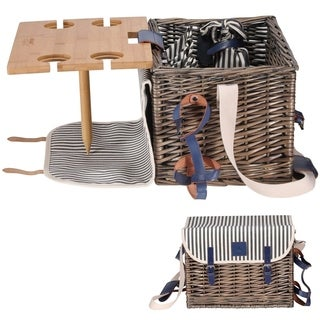 Draizee Picnic Basket Set for 4 Person with Removable Table