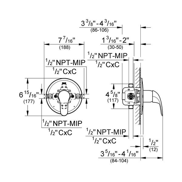 Shop Grohe New Eurosmart Pressure Balance Mixing Trim 19458002