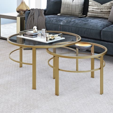 Gaia Round Metal/ Tempered Glass Nesting Coffee Tables - 2 pc Set (Optional Finishes)