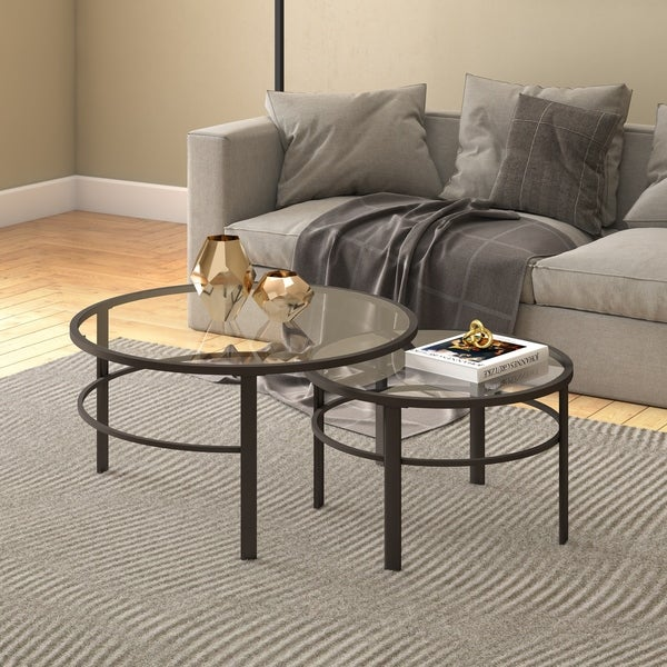 Gaia Round Metal Tempered Gl Nesting Coffee Tables 2 Pc Set Optional Finishes