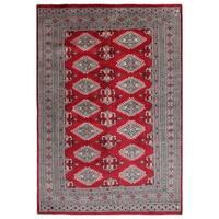 Handmade Herat Oriental Pakistani Hand-knotted Bokhara Wool Rug (4'1 x 6'1)