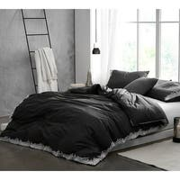 Endless Fields Embroidered Duvet Cover - Carbon Black