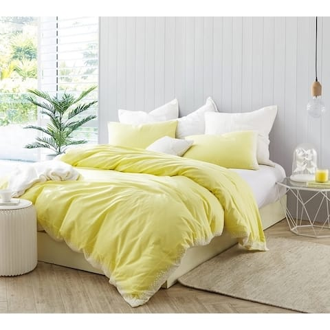 Endless Fields Embroidered Duvet Cover - Limelight Yellow