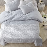 White Lace Duvet Cover - Glacier Gray